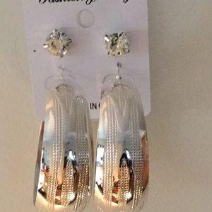 Jewelry - Wide Silver Tone Hoop Earrings